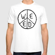 WEED-7 SMALL White Mens Fitted Tee