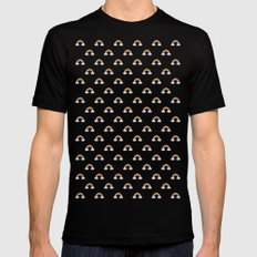 Pixel Rainbow Pattern SMALL Black Mens Fitted Tee