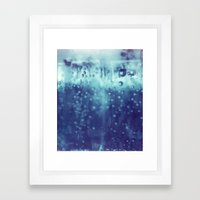 Blue and purple bubble clouds Framed Art Print