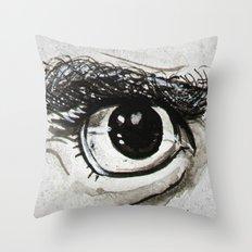 Doubt Black Eyes Throw Pillow