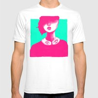 Contemporary Collar Mens Fitted Tee White SMALL