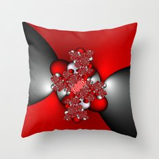 Red and Silver and Black Throw Pillow