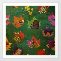 Autumn Grapes and Wine Art Print