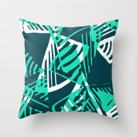 Turquoise Fans Throw Pillow