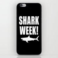 Shark week (on black) iPhone & iPod Skin
