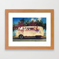 Bears on a bus Framed Art Print