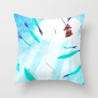 Ice Fisher's Nap Throw Pillow