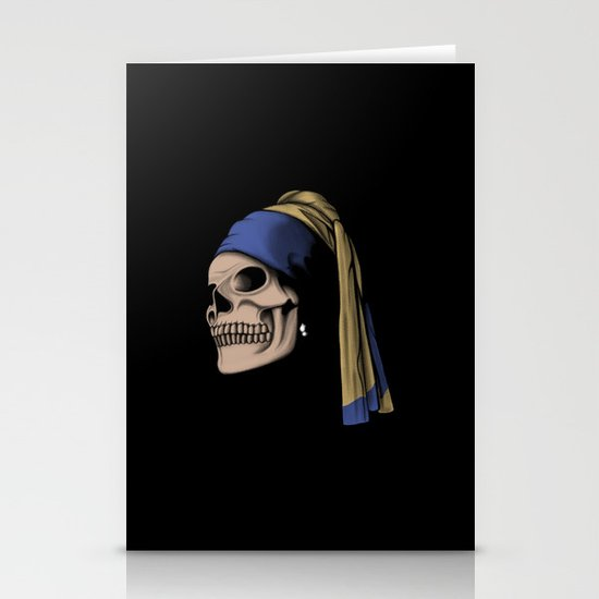 The Skull with a Pearl Earring Stationery Card