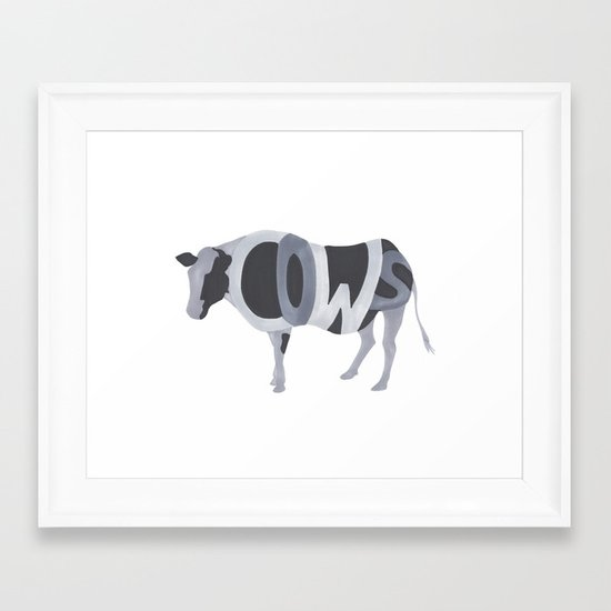 Cows Typography Framed Art Print