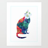 Flowered Cat Art Print