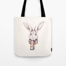 Bunny and scarf Tote Bag