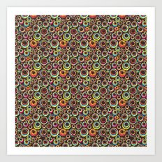 Multicolored Circles on a background of brown, pattern Art Print