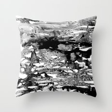 Dexa - black and white minimal abstract painting brushstrokes artwork modern home decor piece Throw Pillow