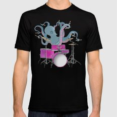 Octopus Playing Drums - Blue Mens Fitted Tee Black SMALL