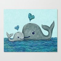 Whale Mom And Baby With … Canvas Print