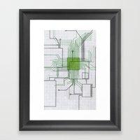 Circuit Board Green Framed Art Print