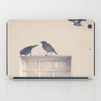 Let me be a bird in your window - vintage retro, beige cream, urban, black and white photography iPad Case