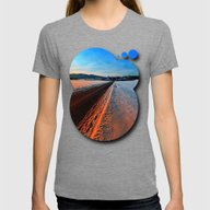 Winter Road At Sundown Womens Fitted Tee Tri-Grey SMALL