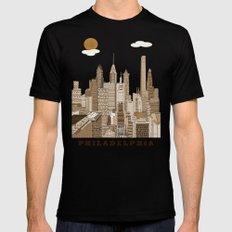 Philadelphia skyline vintage SMALL Mens Fitted Tee Black