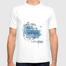Music's all you need White SMALL Mens Fitted Tee