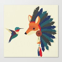 Painted Indian Fox and Hummingbird Canvas Print