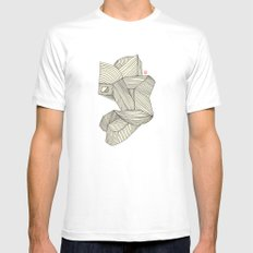 3B White Mens Fitted Tee SMALL