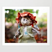 Autumn scarecrow Art Print
