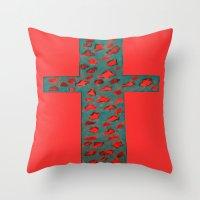 Coral & Teal Leopard Print Cross Throw Pillow