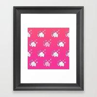 Elephant Love Walk Pink Framed Art Print