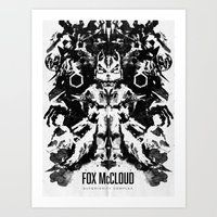 Fox McCloud Star Fox Inspired Geek Psychological Inkblot Art Print