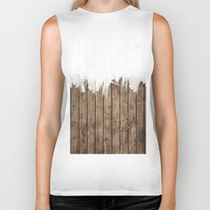 White Abstract Paint on Brown Rustic Striped Wood Biker Tank
