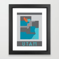 Utah State Map Print Framed Art Print