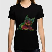 Cat Womens Fitted Tee Black SMALL