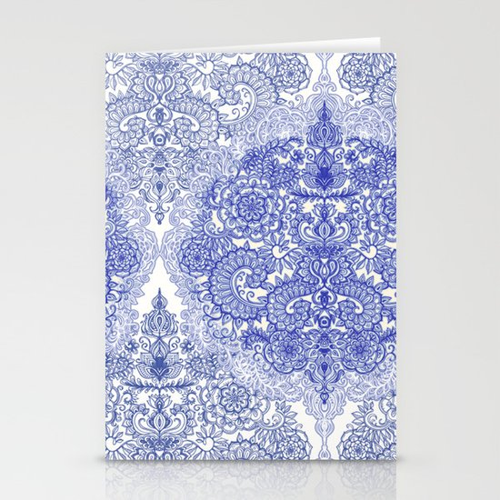 Happy Place Doodle in Cornflower Blue, White & Grey Stationery Card