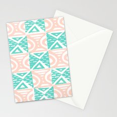 Pink and Blue Lino Print Triangles and Semi-Circles Stationery Cards
