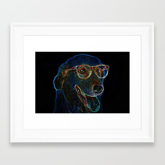 Geek Dog Framed Art Print