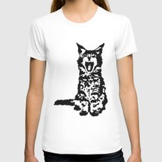 Screaming Kitten (Black & White) Womens Fitted Tee White SMALL