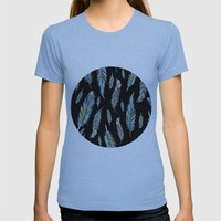 Feather Black Womens Fitted Tee Athletic Blue SMALL