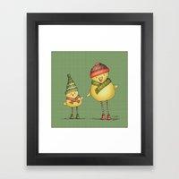 Two Chicks - Green Framed Art Print