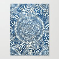 Diamond and Doodle Mandala On Blue Canvas Print