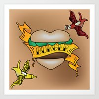 Burger Tattoo Art Print