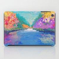 AROUND THE RIVERBEND - Autumn River Modern Nature Pochahontas Abstract Landscape Acrylic Painting iPad Case