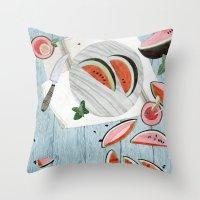 The Watermelon Season Throw Pillow