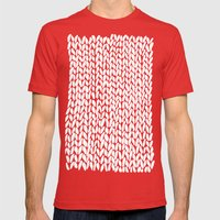Hand Knitted Loops Mens Fitted Tee Red SMALL