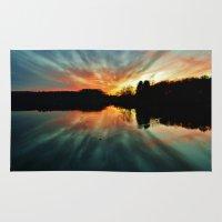 Magical evening at the lake Rug