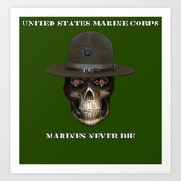 Marines Never Die. Art Print