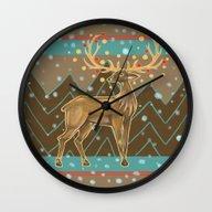 Golden Christmas Deer  Wall Clock