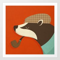 Country Badger Art Print