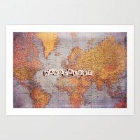 wanderlust map Art Print