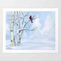 Snow Cardinal Art Print